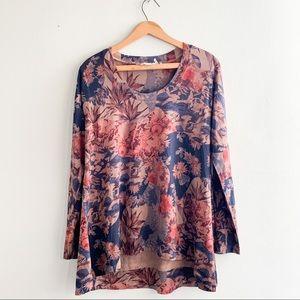 Soft Surroundings Women's Floral Lagoon Crane Print Scoop-neck Sweater Sz M